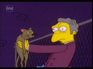 Moe from the Simpson, holding a cat and looking confused.