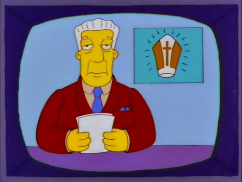 Newscaster from the Simpsons with a pope hat in the inset