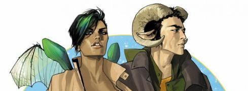 Alana and Marko from the cover of Saga, Volume 1
