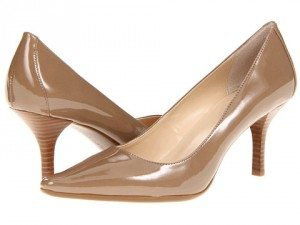 Shiny taupe pumps with pointy toes