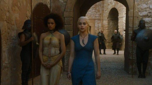 Dany and Missandei walk through Astapor