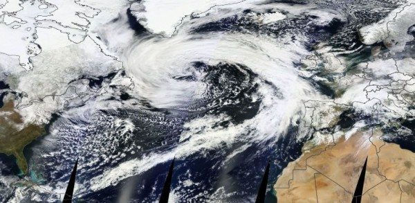 Satellite image of an enormous storm in the Atlantic Ocean