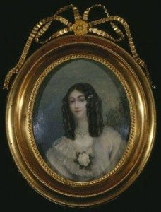Miniature painting of Marie Duplessis in a gold frame