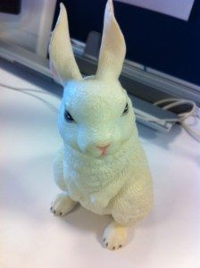 Picture of a frightening looking rabbit figurine