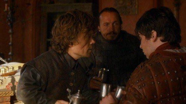 Tyrion and Bronn gather around Pod