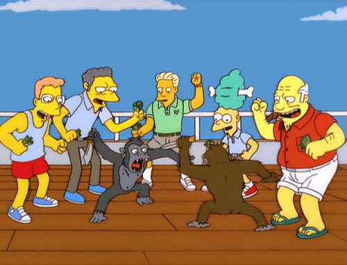Various characters from the Simpsons watching two monkeys fight with knives