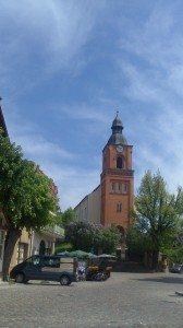 Church spire, market place in Brandenburg, East Germany