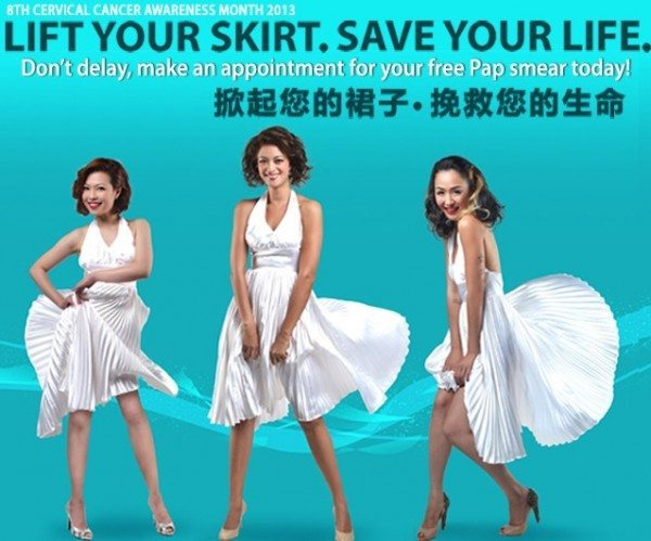 "Ad showing three women in a Marilyn Monroe skirt-blowing-up pose, captioned ""Lift Your Skirt. Save Your Life."""