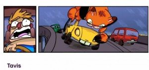 Tavis's cartoon of a driver terrified of the enormous cat on the roof of his car.