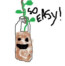 Drawing of a soda bottle filled partway with dirt, hanging from a string, with a bean plant.
