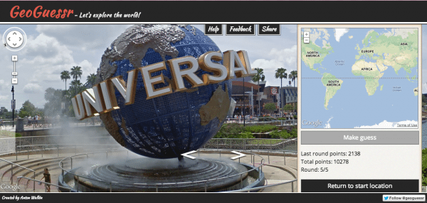 Screencap from GeoGuessr of the Universal Studios globe at the theme park in Orlando.