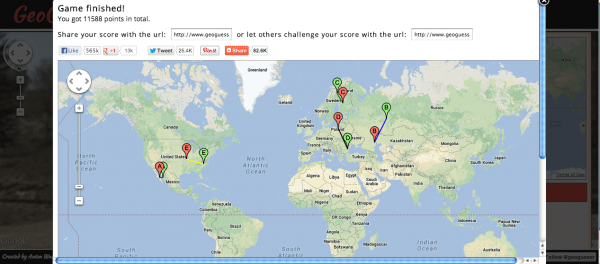 Screencap from GeoGuessr of a world map with five pairs of pins corresponding to each round played. All the pairs are pretty close together.