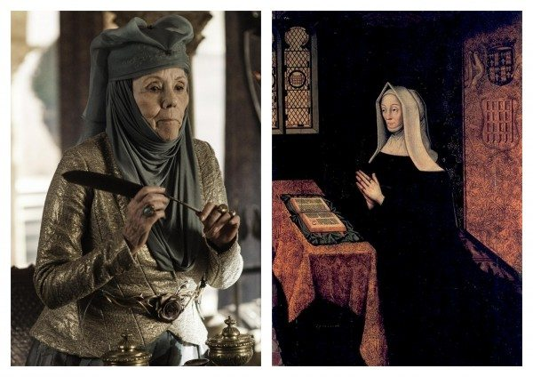 Picture of Olenna from HBO's Game of Thrones; portrait of Lady Margaret at prayer