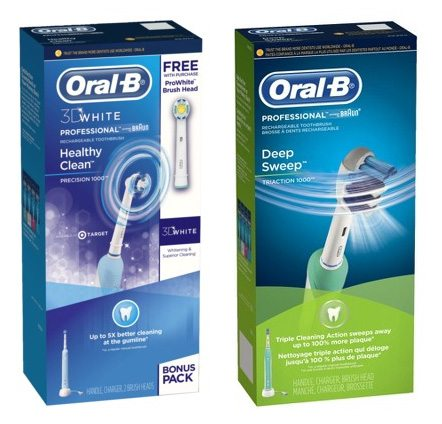 Boxed OralB brand electric toothbrushes