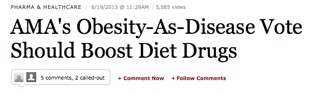 """Screenshot from Forbes of a headline reading """"AMA's Obesity-As-Disease Vote Should Boost Diet Drugs"""""""
