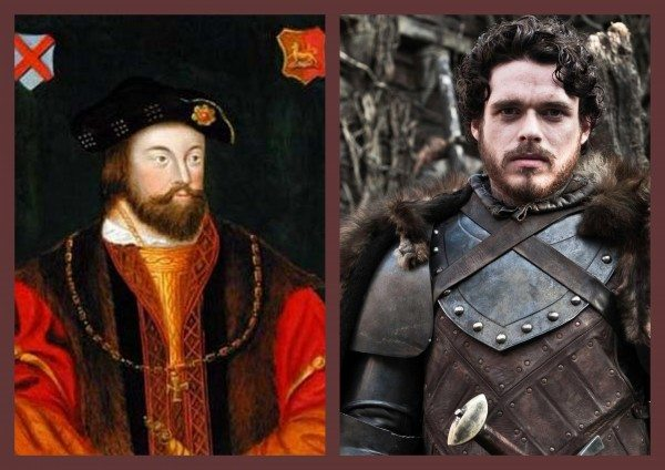 Side-by-side portrait of Silken Thomas and photo of Robb Stark