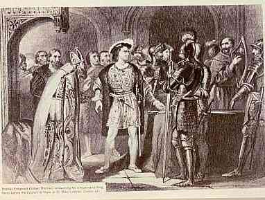 Woodcut of Thomas rebelling against the king