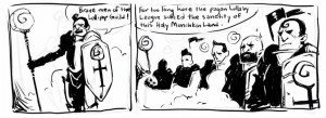 Comic strip: The Lollypop Guild goes on crusade, panels 1 & 2