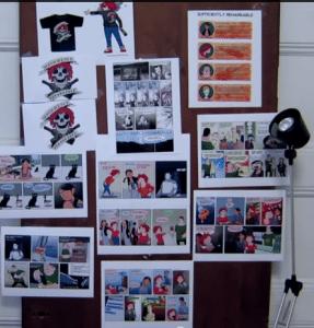 A pinboard of comics