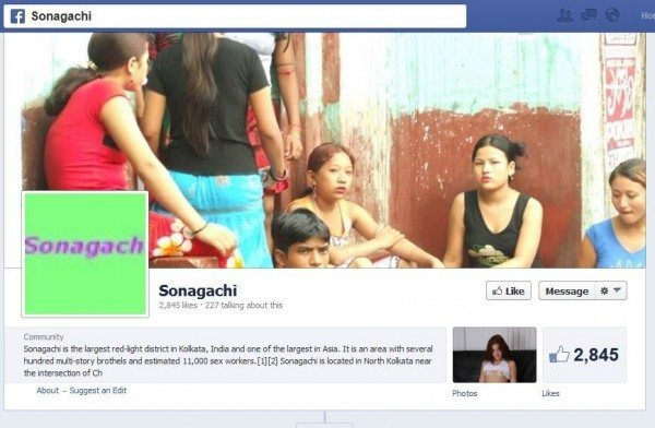 Screencap of the header of the Sonagachi Facebook page