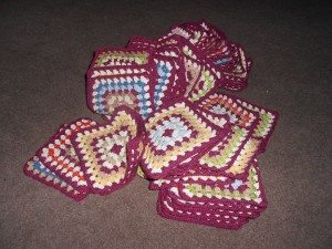 pile of finished granny squares