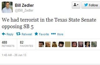 "Tweet by Bill Zedler reading "" We had terrorist in the Texas State Senate opposing SB 5"""