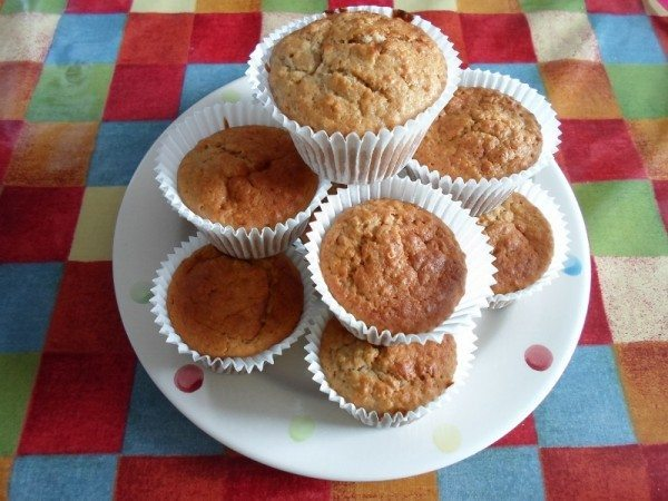 A plate piled with banana muffins