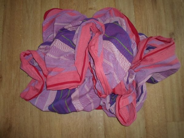 Woven wrap in a jumble.
