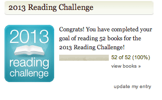 Screencap of my Goodreads reading challenge congratulations message.