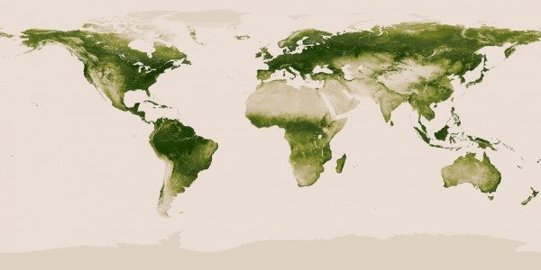 Map of the Earth with green shading where plants are found and beige in deserts/ice caps.
