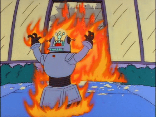 Still from The Simpsons of a robot that's on fire