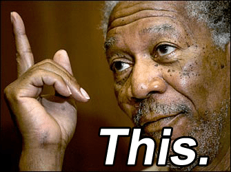 "Morgan Freeman pointing upwards, captioned ""This"""