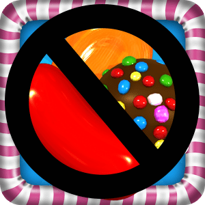"""Candy Crush Saga icon with a """"no"""" symbol covering it."""