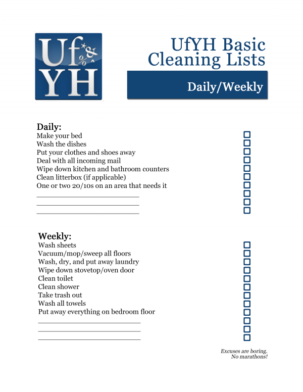 UfYH Daily/Weekly Cleaning Checklist