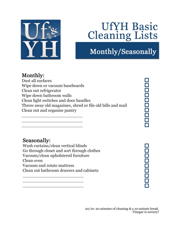 UfYH Monthly/Seasonal Cleaning Checklist