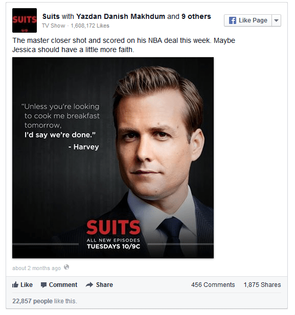"A social media post from the show ""Suits."""
