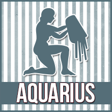 "A person kneels and empties a bucket of water; the image reads ""Aquarius"""