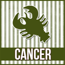 "An image of a clip art crab which reads ""Cancer"""