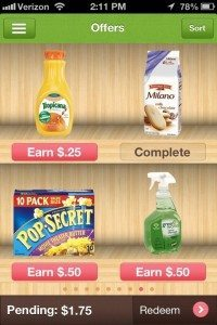 Screencap showing how much you can earn by purchasing various products on Ibotta