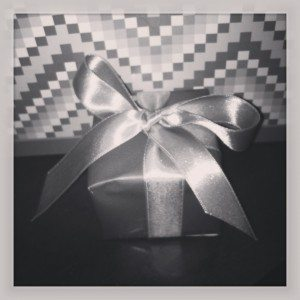 small gift box with ribbon