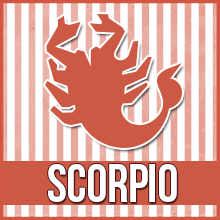 "A clip art image of a scorpion that reads ""Scorpio"""