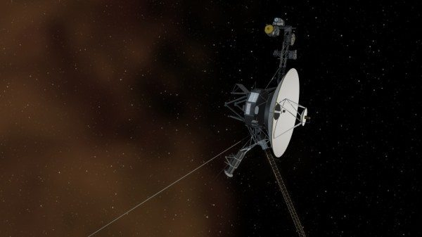 Artist rendition of Voyager 1 spacecraft with a brown plasma cloud and pinpricks of stars in the distance.