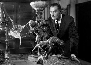 A still image of Vincent Price in House on Haunted Hill.