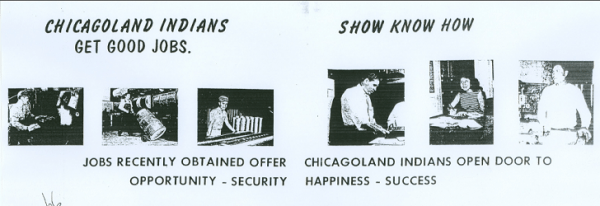 A poster with pictures of Native Americans on the job with captions about working in Chicago.