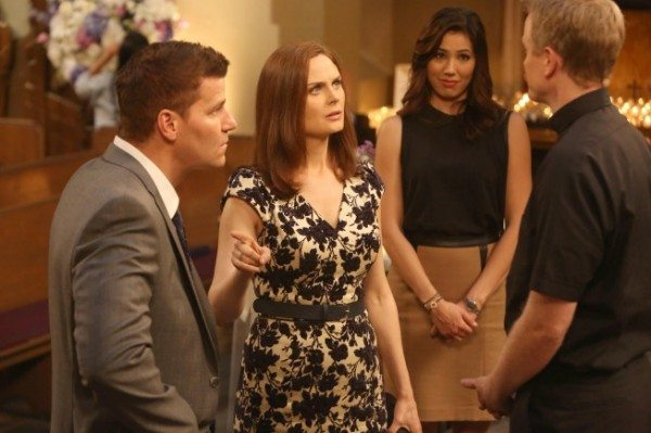"BONES:  Brennan (Emily Deschanel, second from L) becomes distracted during her wedding rehearsal in the ""The Woman in White"" episode of BONES airing Monday, Oct. 21 (8:00-9:00 PM ET/PT) on FOX.  Also pictured L-R:  David Boreanaz, Michaela Conlin and guest star David Hornsby.  ©2013 Fox Broadcasting Co.  Cr:  Patrick McElhenney/FOX"