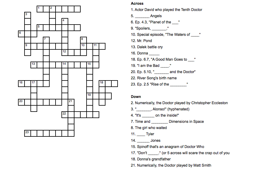 Pop Culture Crossword Doctor Who Persephone Magazine