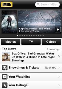 Screecap of Internet Movie Database iTunes app