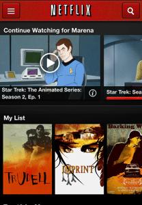 Screencap of Netflix iTunes app