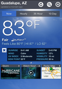 Screencap of the Weather Channel's iTunes app