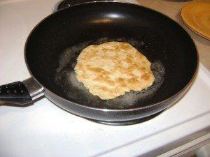 Dough in a frying pan.